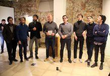 Inauguració de 'Individu'. D'esquerra a dreta, Bidegain, Haro, Rincón, Corral, Fonollosa, Roig, Saus i Àvila