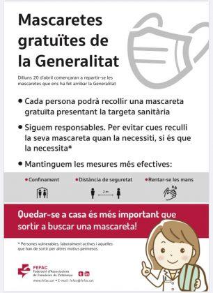 Recomanacions Generalitat Mascaretes Gratuïtes