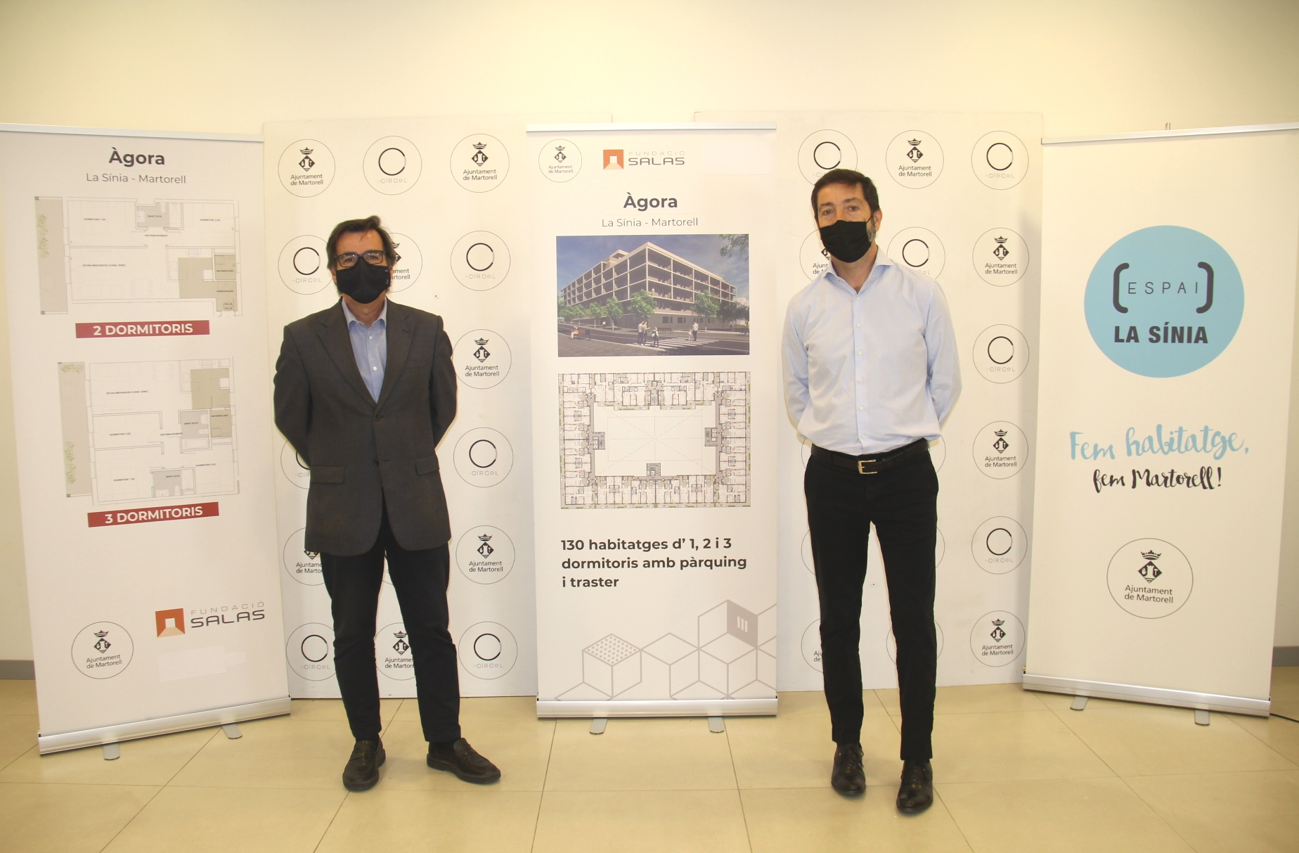 Presentació pisos protecció oficial La Sínia. Xavier Fonollosa, alcalde de Martorell, i Manel Rodríguez, president Fundació Salas